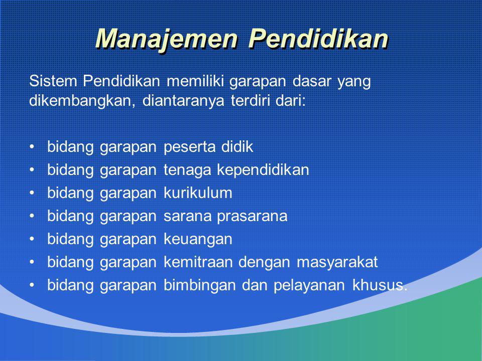 Manajemen Pendidikan Sistem Pendidikan memiliki garapan dasar yang dikembangkan, diantaranya terdiri dari: