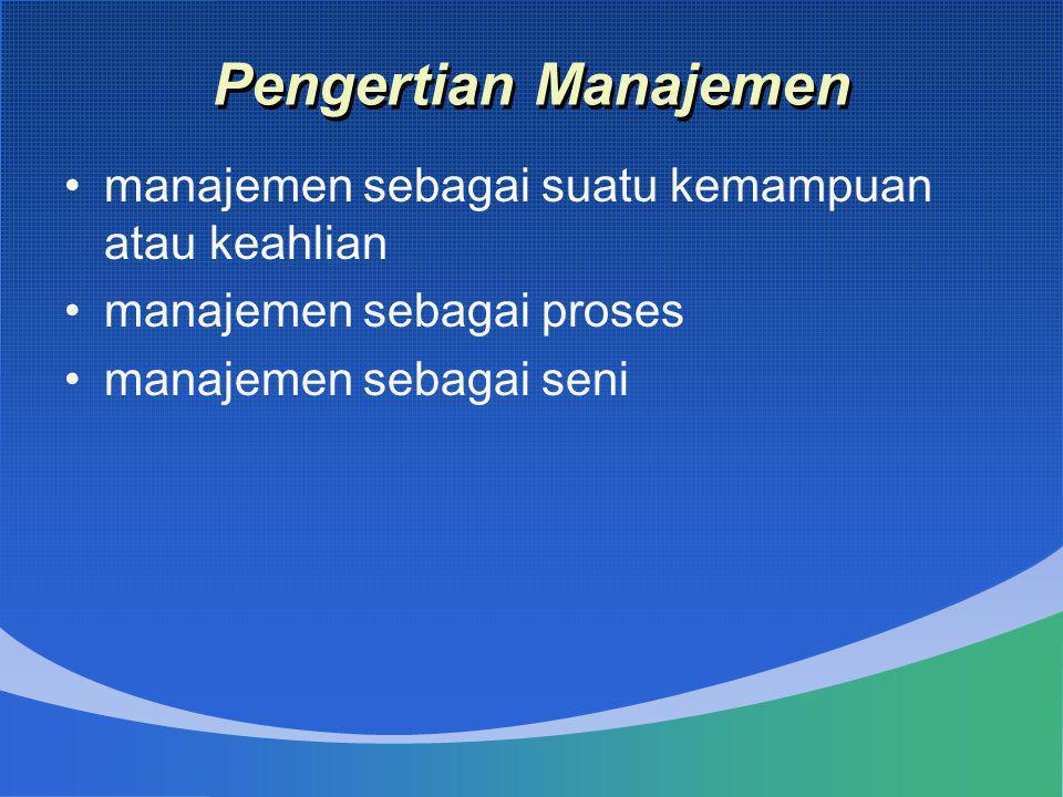Pengertian Manajemen manajemen sebagai suatu kemampuan atau keahlian