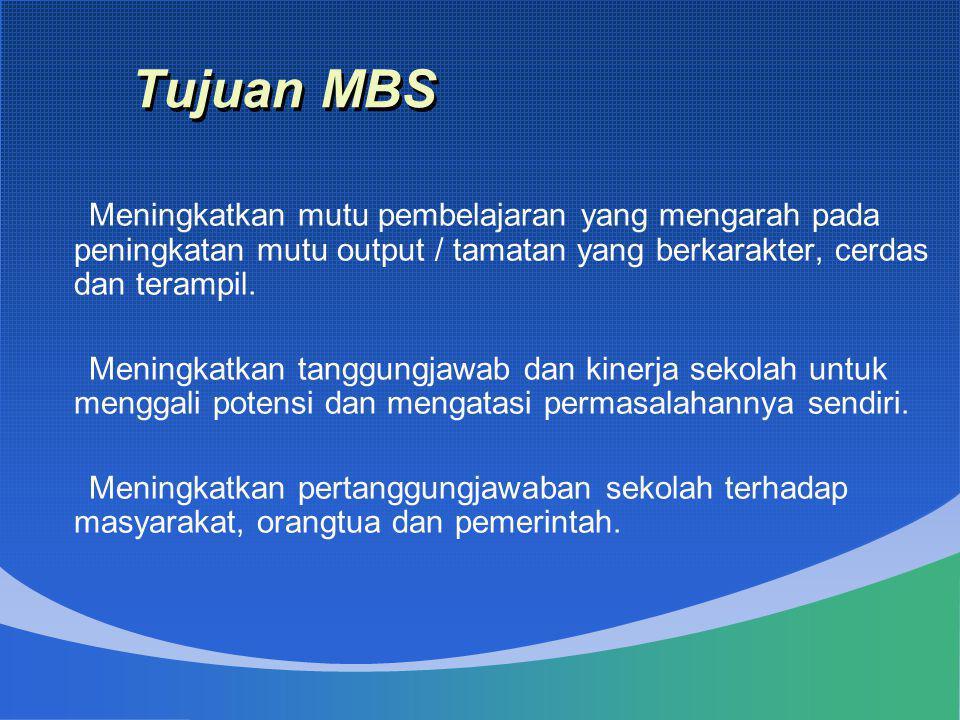 Tujuan MBS Meningkatkan mutu pembelajaran yang mengarah pada peningkatan mutu output / tamatan yang berkarakter, cerdas dan terampil.