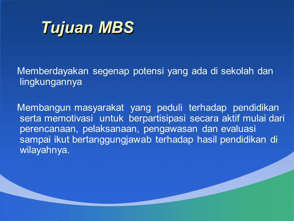 Tujuan MBS Memberdayakan segenap potensi yang ada di sekolah dan lingkungannya.