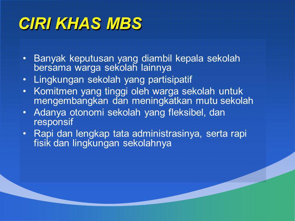 CIRI KHAS MBS Banyak keputusan yang diambil kepala sekolah bersama warga sekolah lainnya. Lingkungan sekolah yang partisipatif.