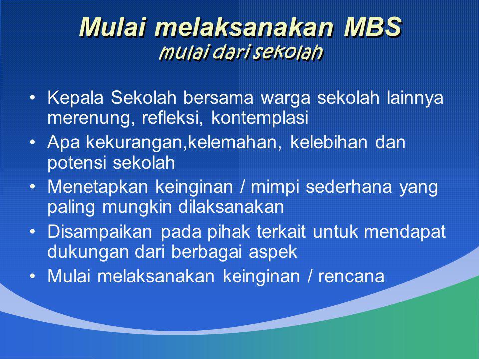 Mulai melaksanakan MBS mulai dari sekolah