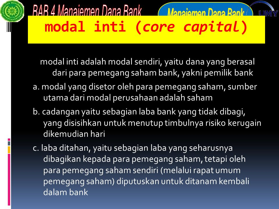 modal inti (core capital)