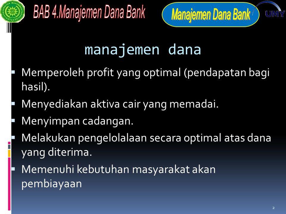 manajemen dana Memperoleh profit yang optimal (pendapatan bagi hasil).
