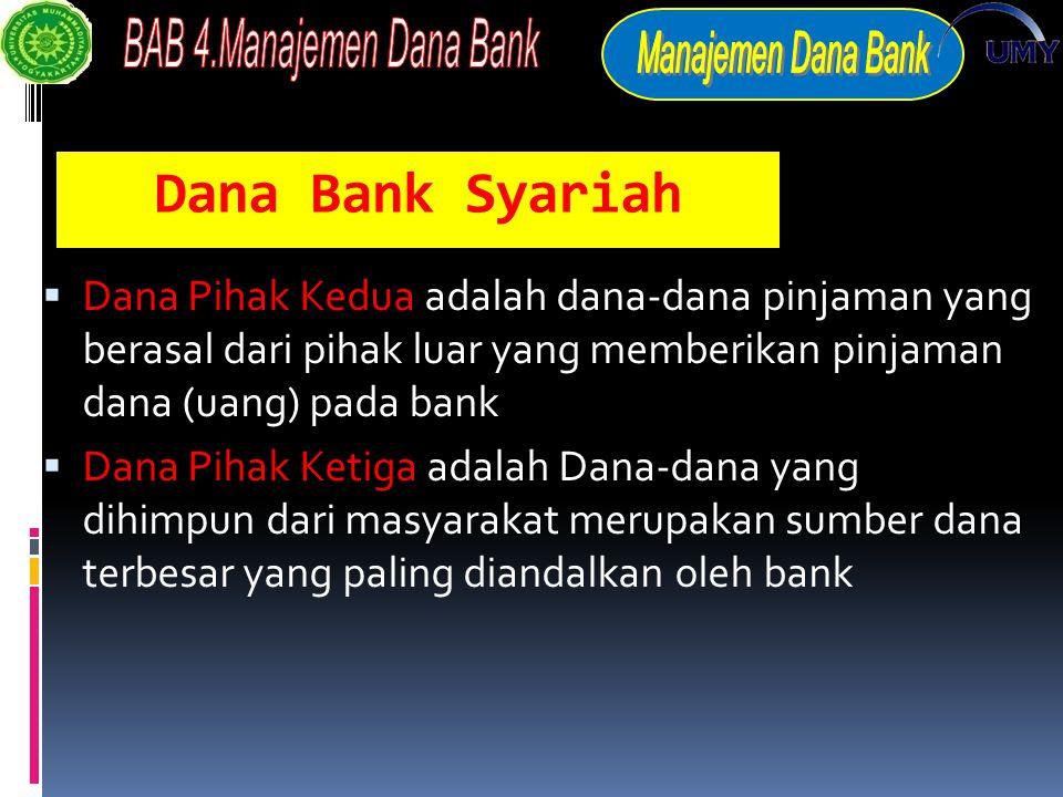 Dana Bank Syariah Dana Pihak Kedua adalah dana-dana pinjaman yang berasal dari pihak luar yang memberikan pinjaman dana (uang) pada bank.