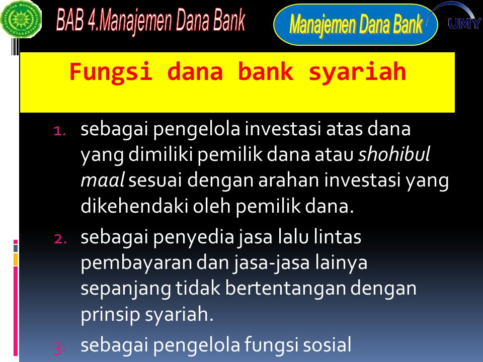 Fungsi dana bank syariah