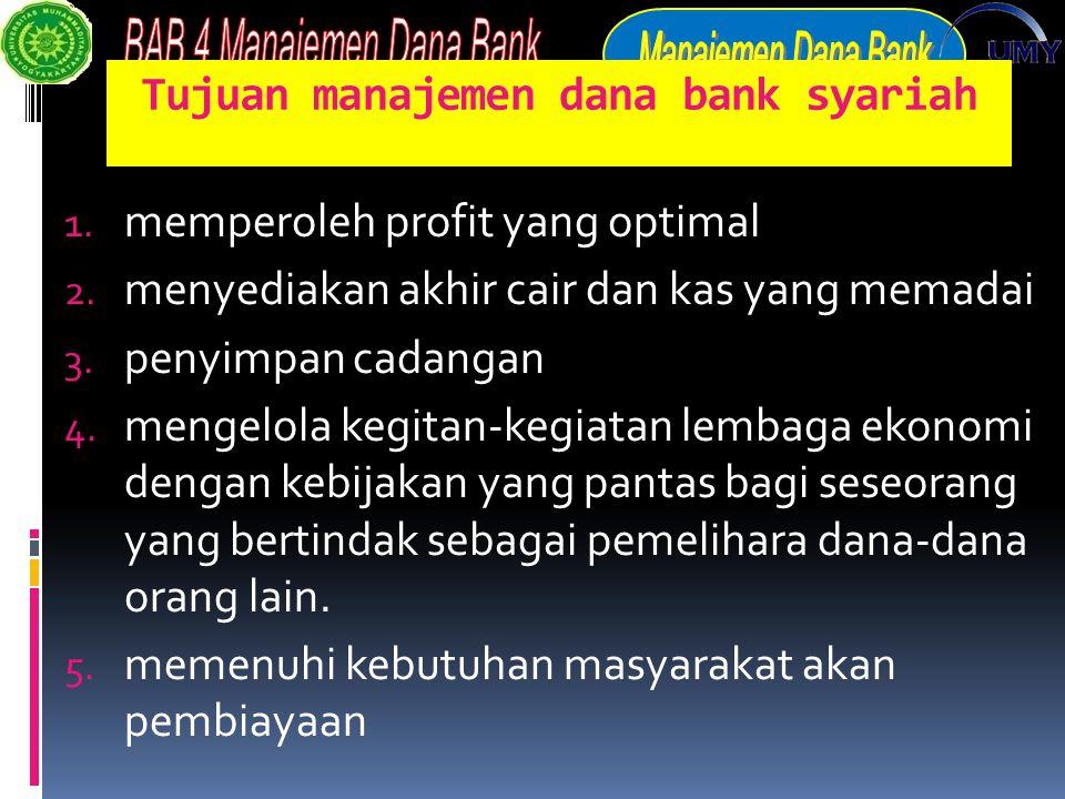 Tujuan manajemen dana bank syariah