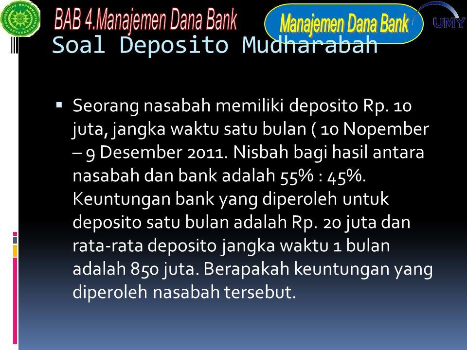 Soal Deposito Mudharabah