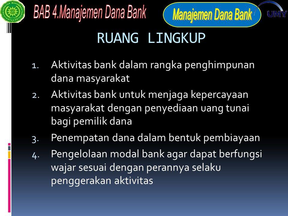 RUANG LINGKUP Aktivitas bank dalam rangka penghimpunan dana masyarakat