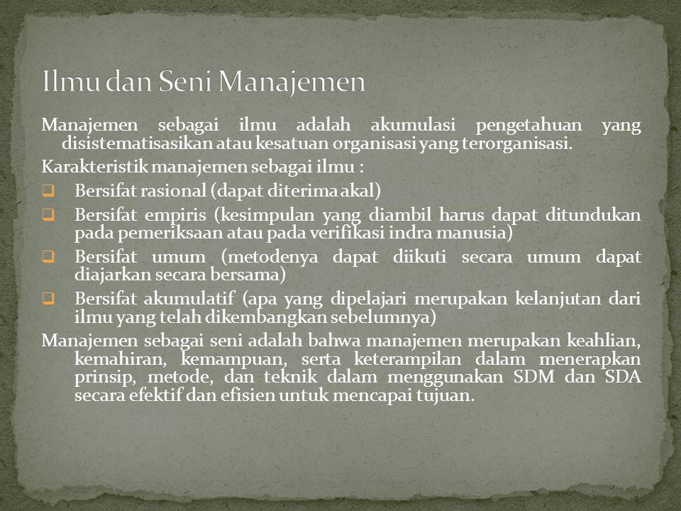 Ilmu dan Seni Manajemen