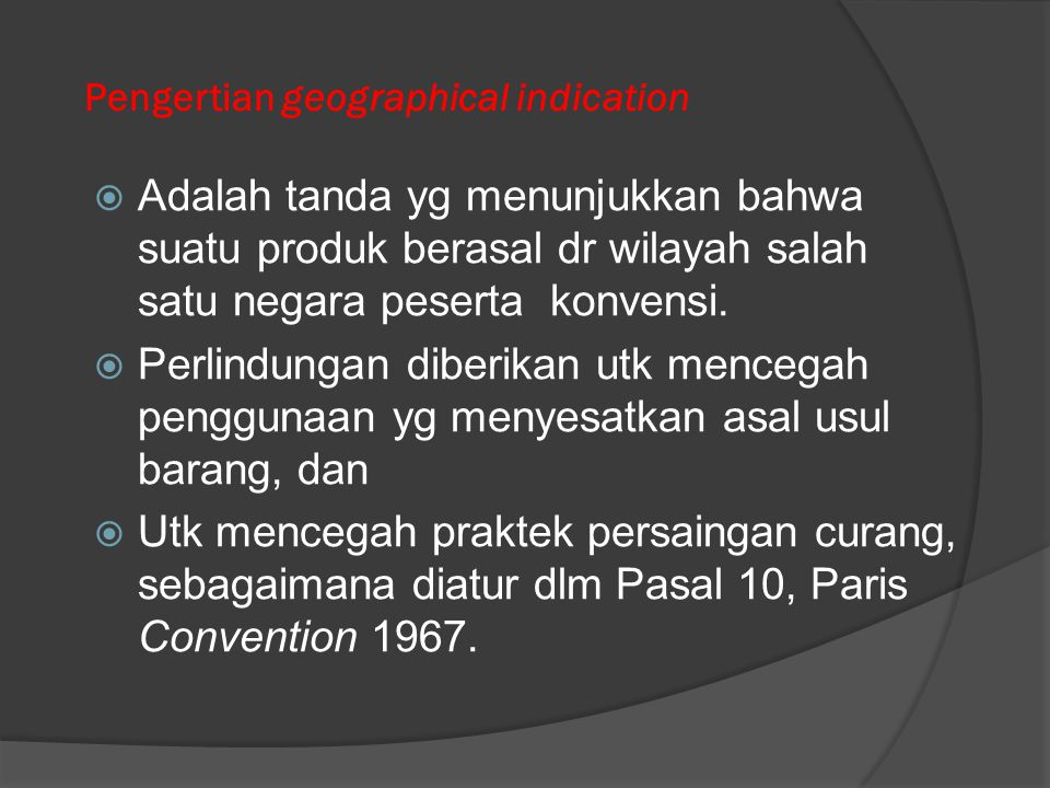Pengertian geographical indication