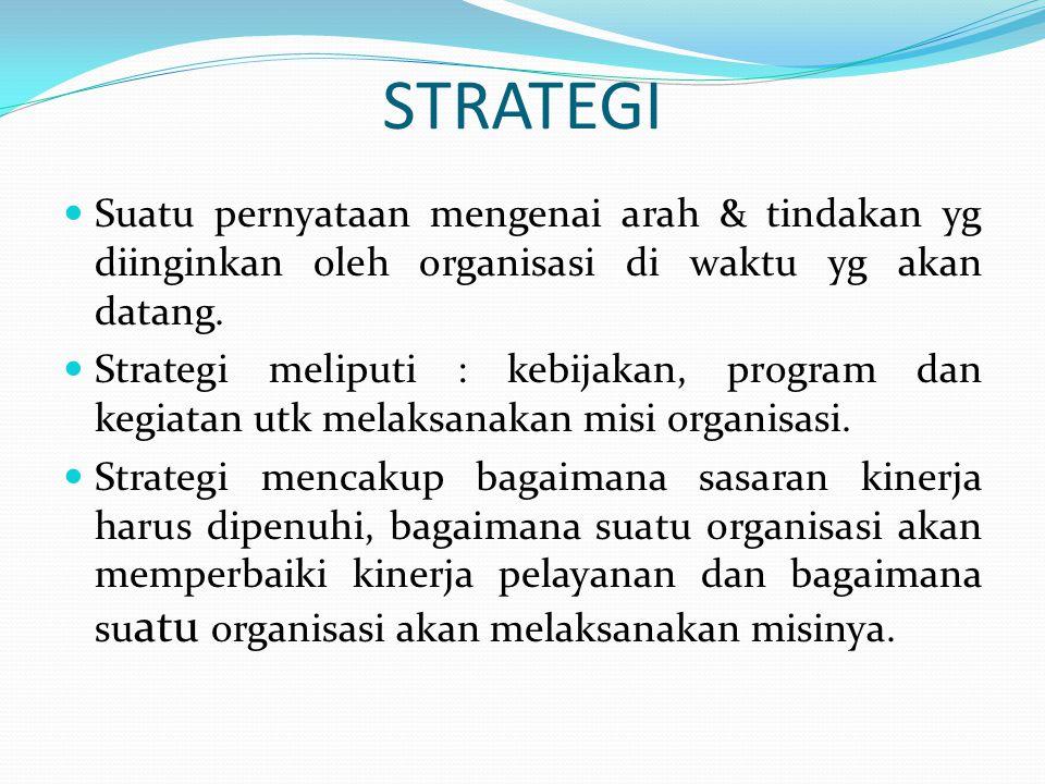 STRATEGI Suatu pernyataan mengenai arah & tindakan yg diinginkan oleh organisasi di waktu yg akan datang.