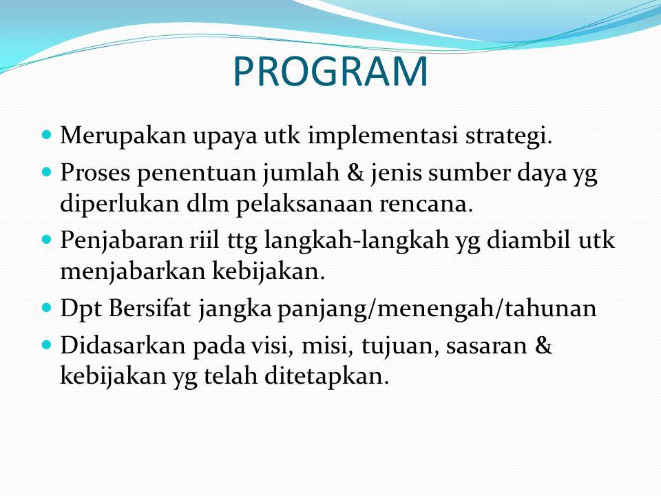 PROGRAM Merupakan upaya utk implementasi strategi.