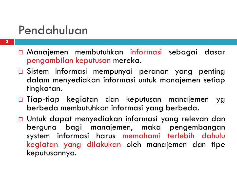Pendahuluan Manajemen membutuhkan informasi sebagai dasar pengambilan keputusan mereka.