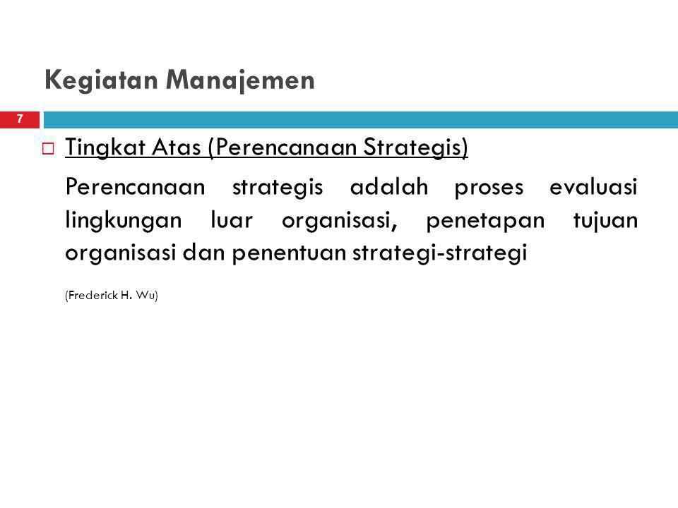 Kegiatan Manajemen Tingkat Atas (Perencanaan Strategis)