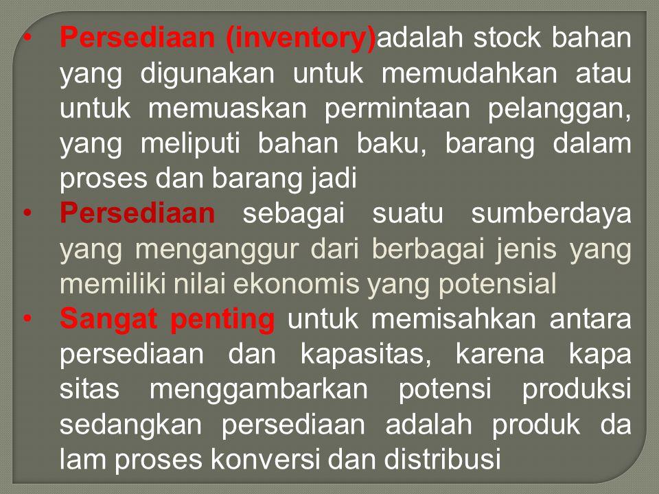 Persediaan (inventory)adalah stock bahan yang digunakan untuk memudahkan atau untuk memuaskan permintaan pelanggan, yang meliputi bahan baku, barang dalam proses dan barang jadi