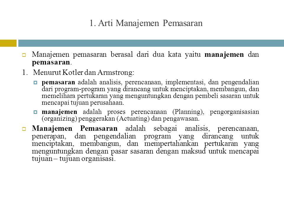 1. Arti Manajemen Pemasaran