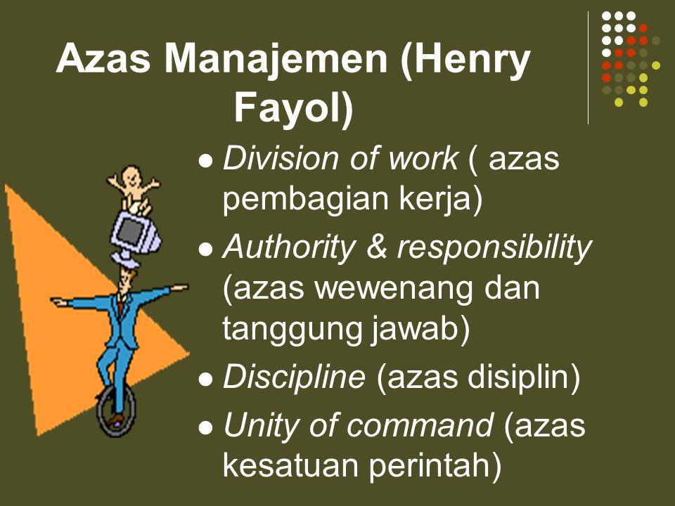 Azas Manajemen (Henry Fayol)