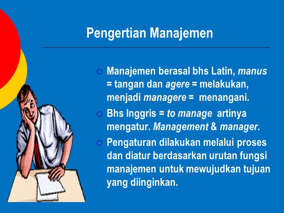 Pengertian Manajemen Manajemen berasal bhs Latin, manus = tangan dan agere = melakukan, menjadi managere = menangani.