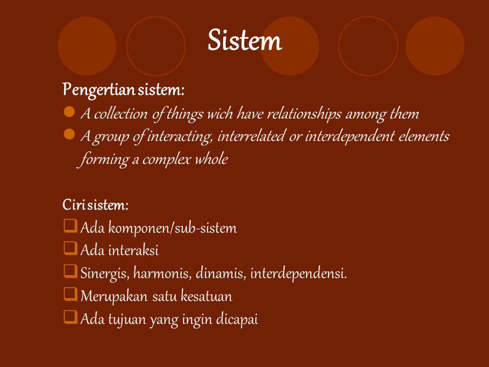 Sistem Pengertian sistem: