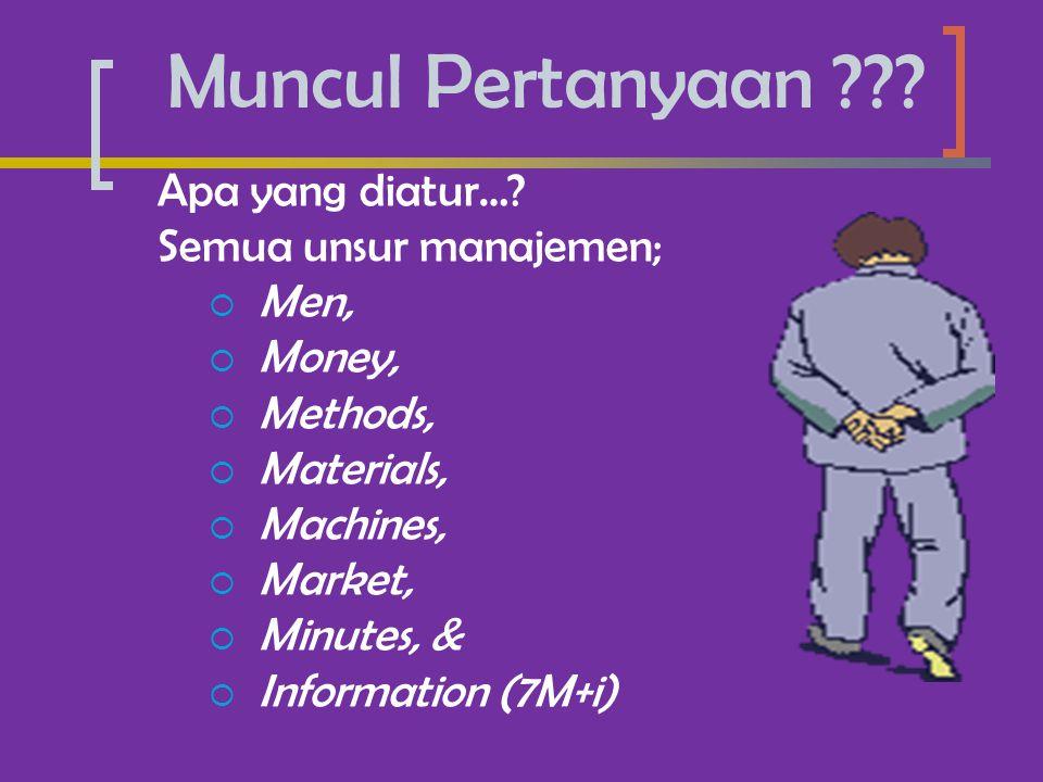 Muncul Pertanyaan Apa yang diatur… Semua unsur manajemen; Men,