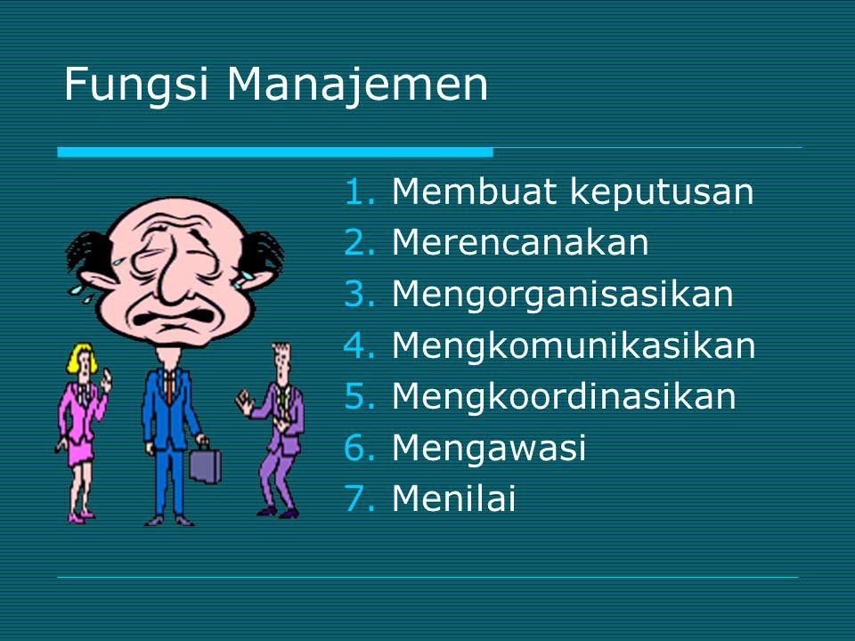 Fungsi Manajemen Membuat keputusan Merencanakan Mengorganisasikan