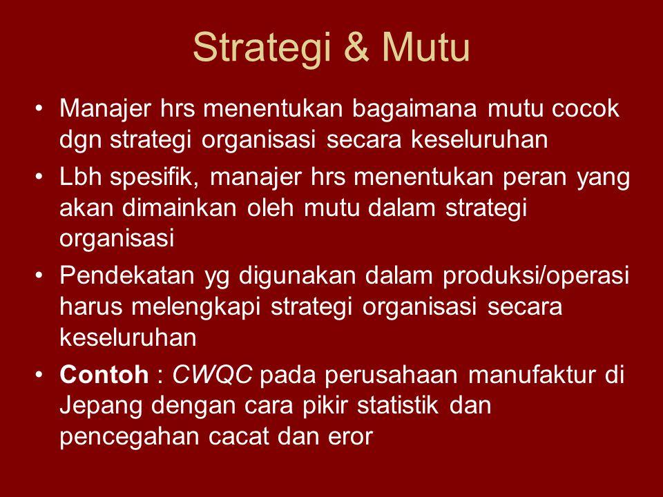 Strategi & Mutu Manajer hrs menentukan bagaimana mutu cocok dgn strategi organisasi secara keseluruhan.