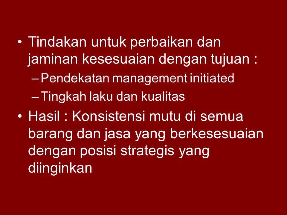 Tindakan untuk perbaikan dan jaminan kesesuaian dengan tujuan :