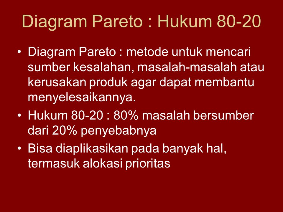 Diagram Pareto : Hukum 80-20
