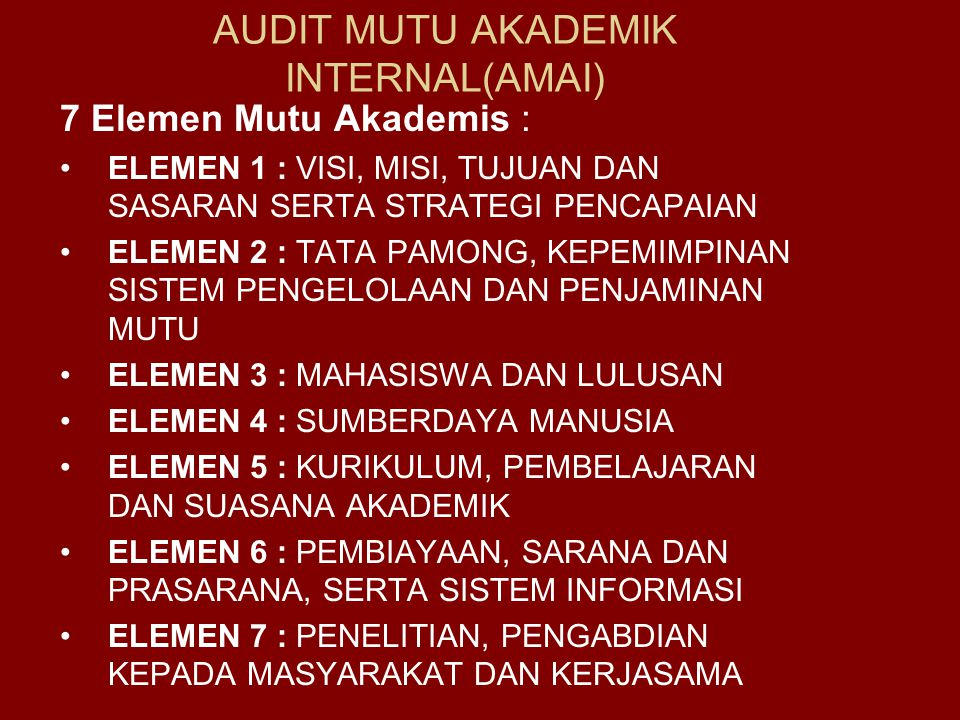 AUDIT MUTU AKADEMIK INTERNAL(AMAI)