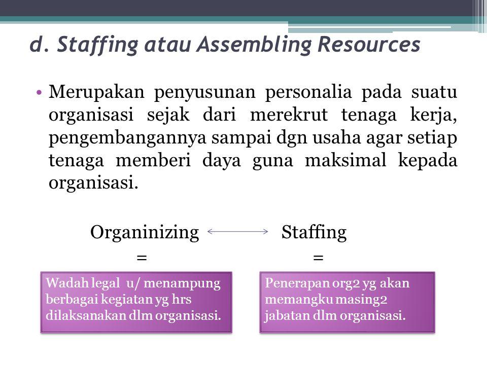 d. Staffing atau Assembling Resources