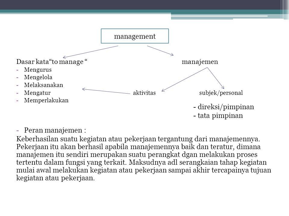 management Peran manajemen :
