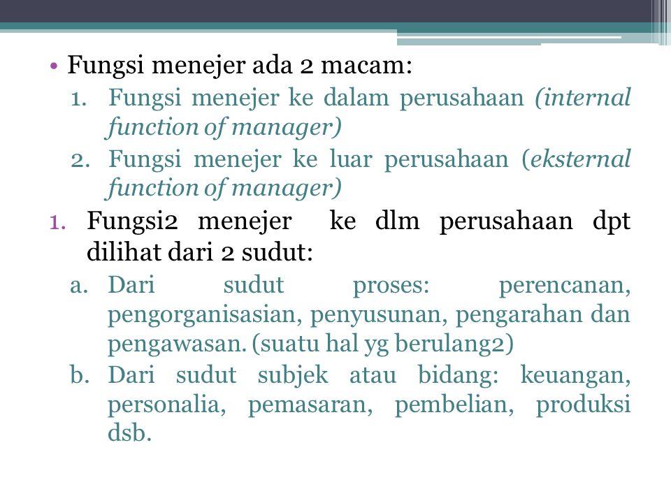 Fungsi menejer ada 2 macam: