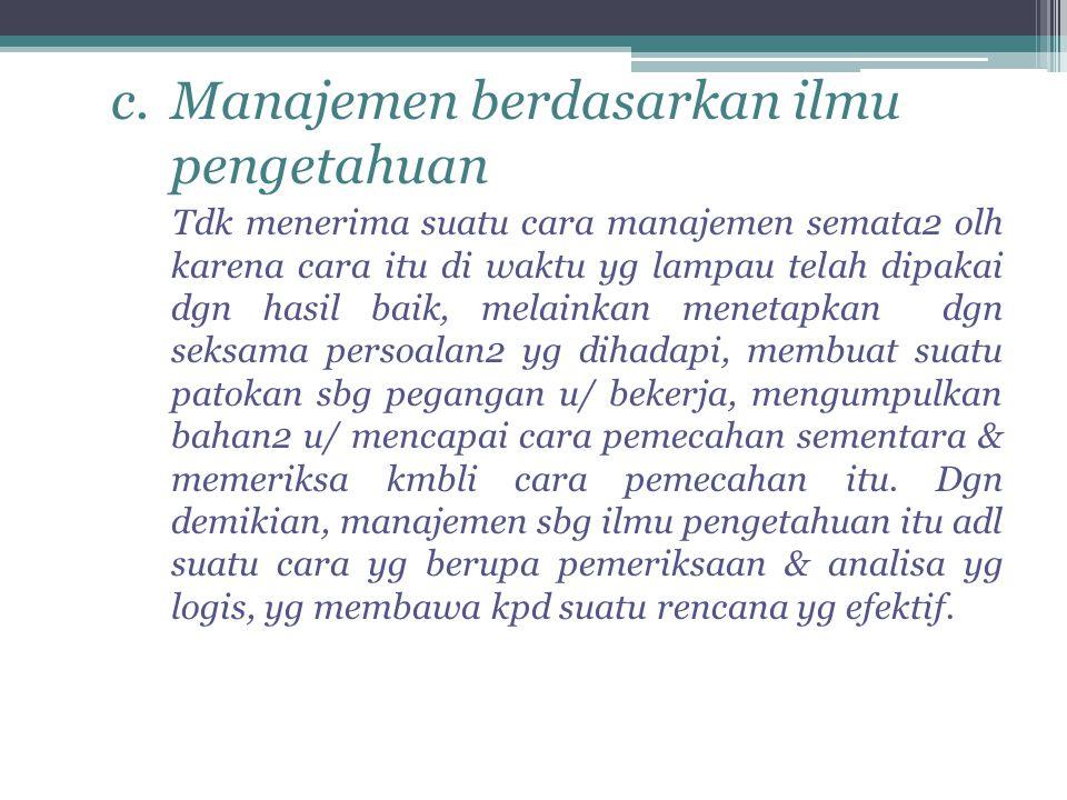 Manajemen berdasarkan ilmu pengetahuan