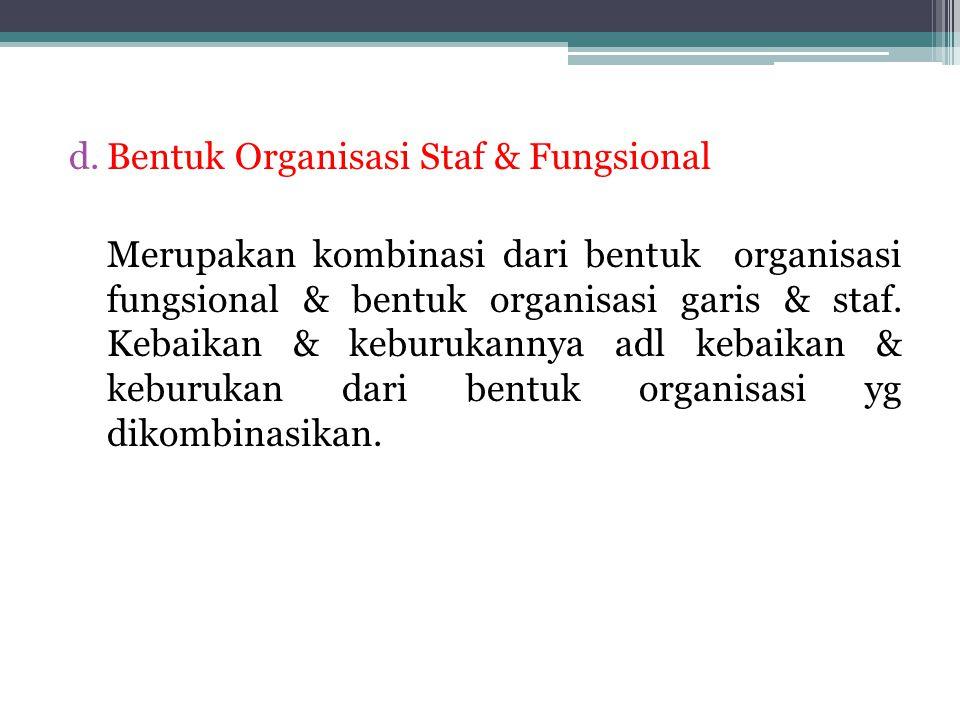 Bentuk Organisasi Staf & Fungsional