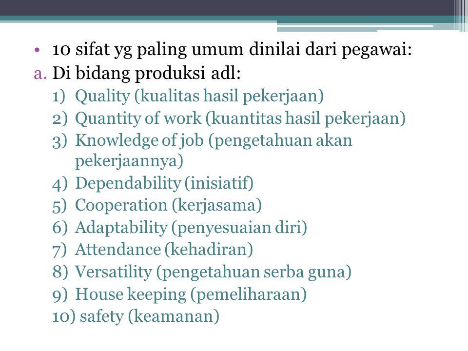 10 sifat yg paling umum dinilai dari pegawai: Di bidang produksi adl: