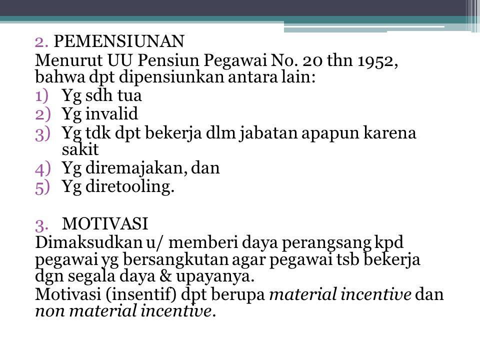 PEMENSIUNAN Menurut UU Pensiun Pegawai No. 20 thn 1952, bahwa dpt dipensiunkan antara lain: Yg sdh tua.