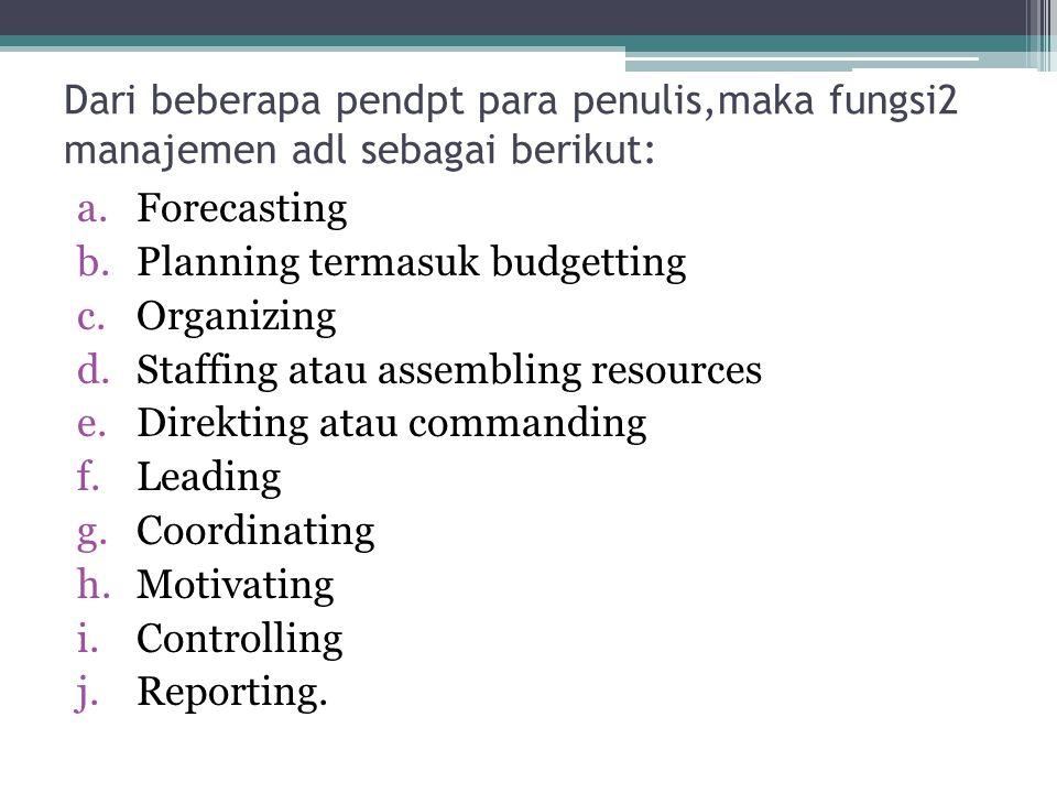 Dari beberapa pendpt para penulis,maka fungsi2 manajemen adl sebagai berikut: