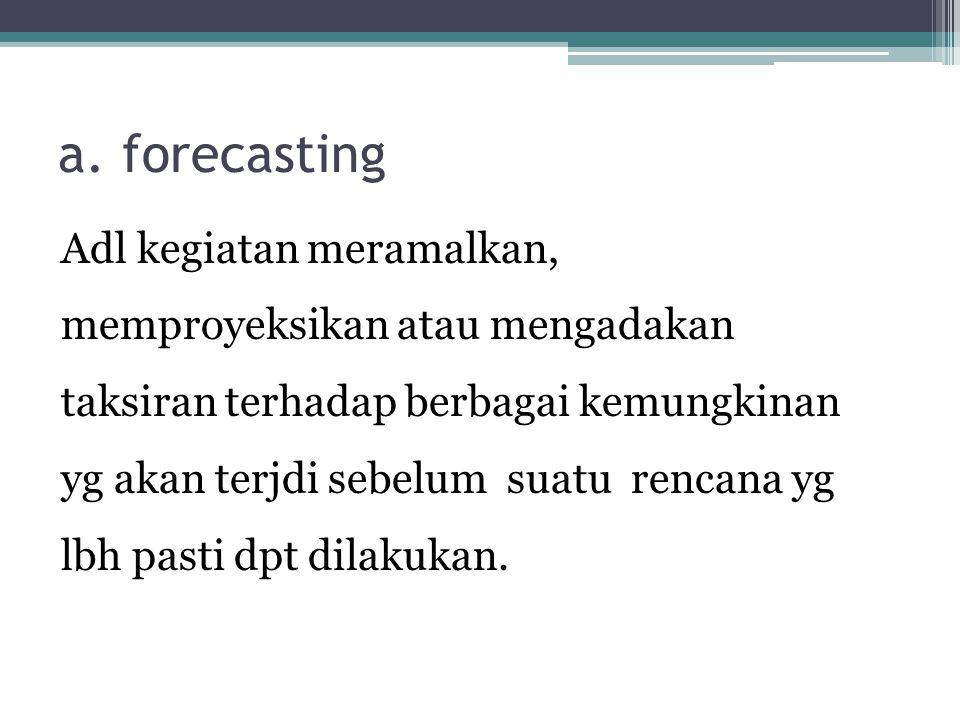 a. forecasting