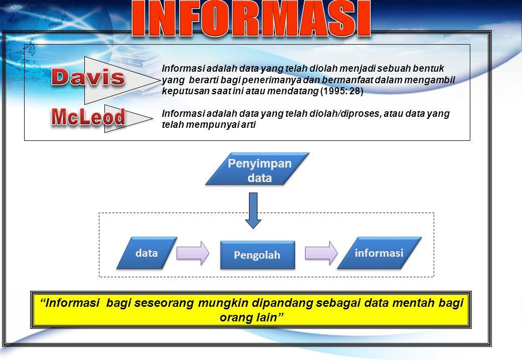 INFORMASI Davis McLeod Penyimpan data data informasi Pengolah