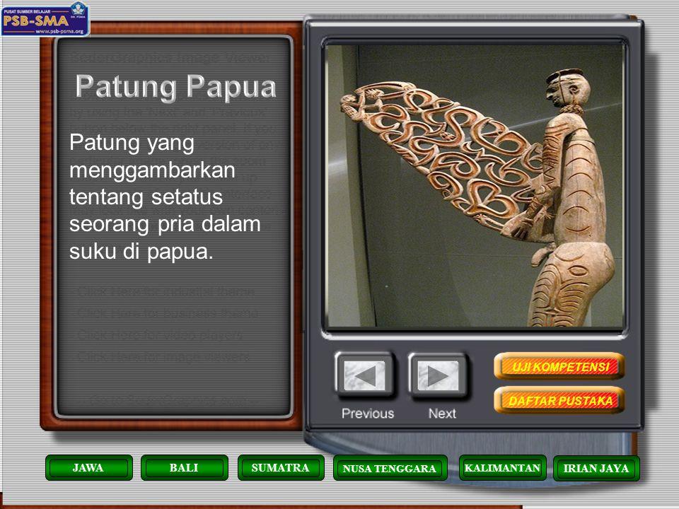 Patung Papua Patung yang menggambarkan tentang setatus seorang pria dalam suku di papua. UJI KOMPETENSI.