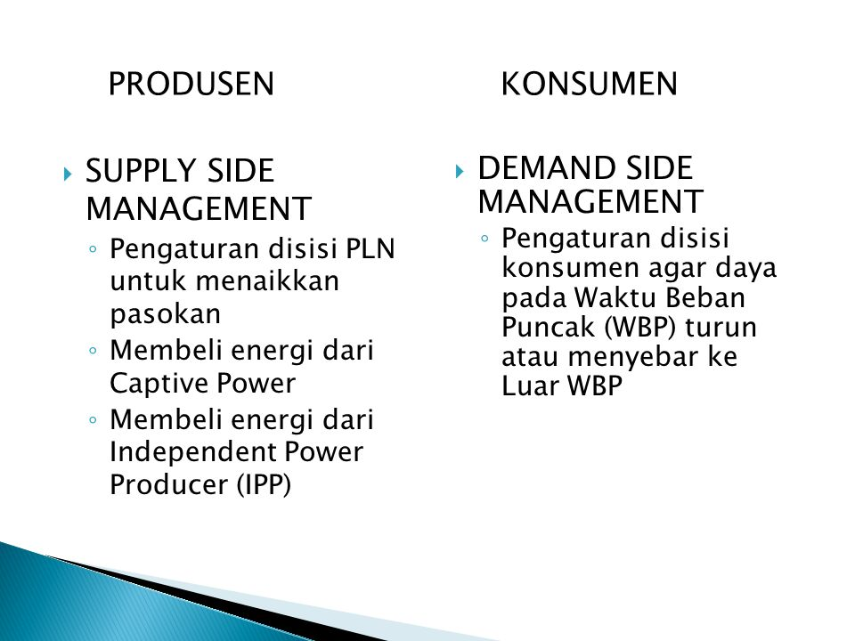 SUPPLY SIDE MANAGEMENT DEMAND SIDE MANAGEMENT