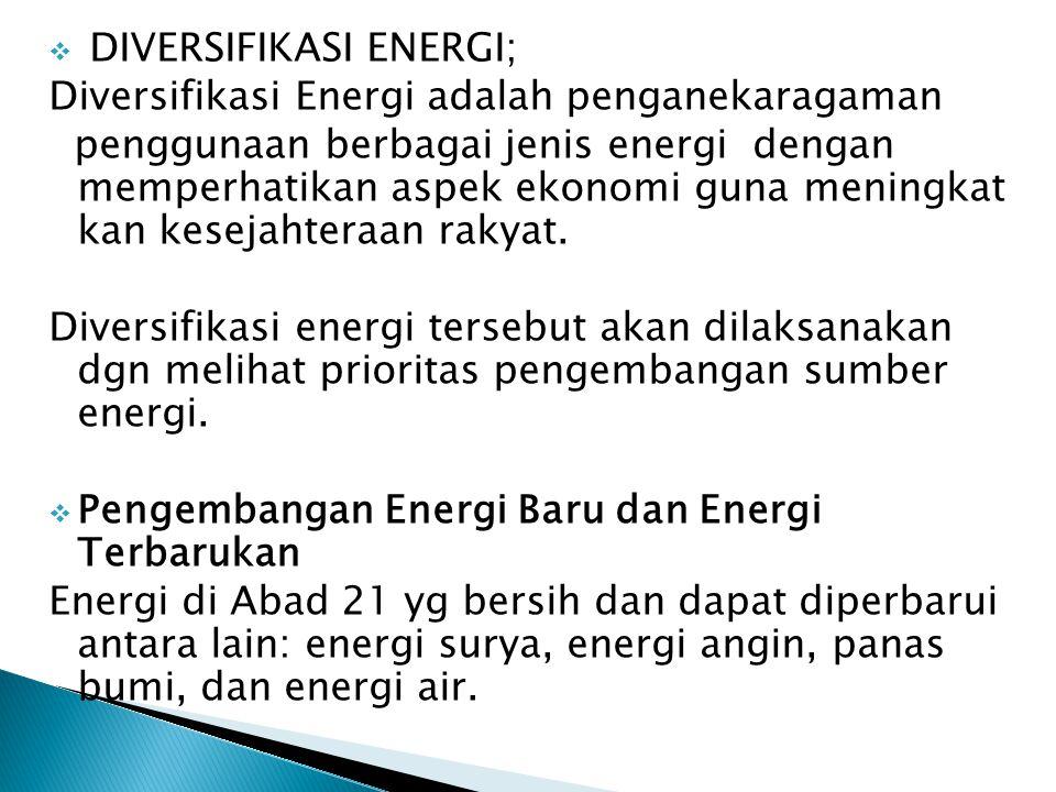 DIVERSIFIKASI ENERGI;