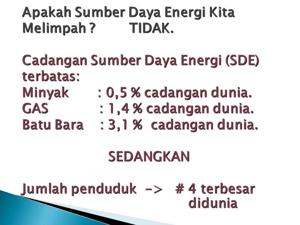 Apakah Sumber Daya Energi Kita Melimpah. TIDAK