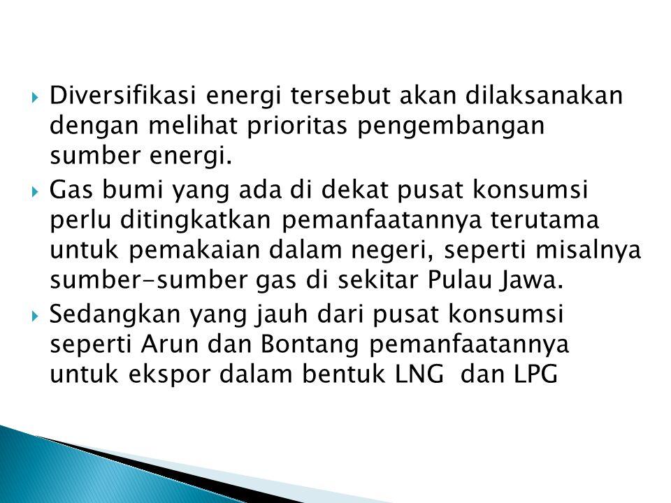 Diversifikasi energi tersebut akan dilaksanakan dengan melihat prioritas pengembangan sumber energi.