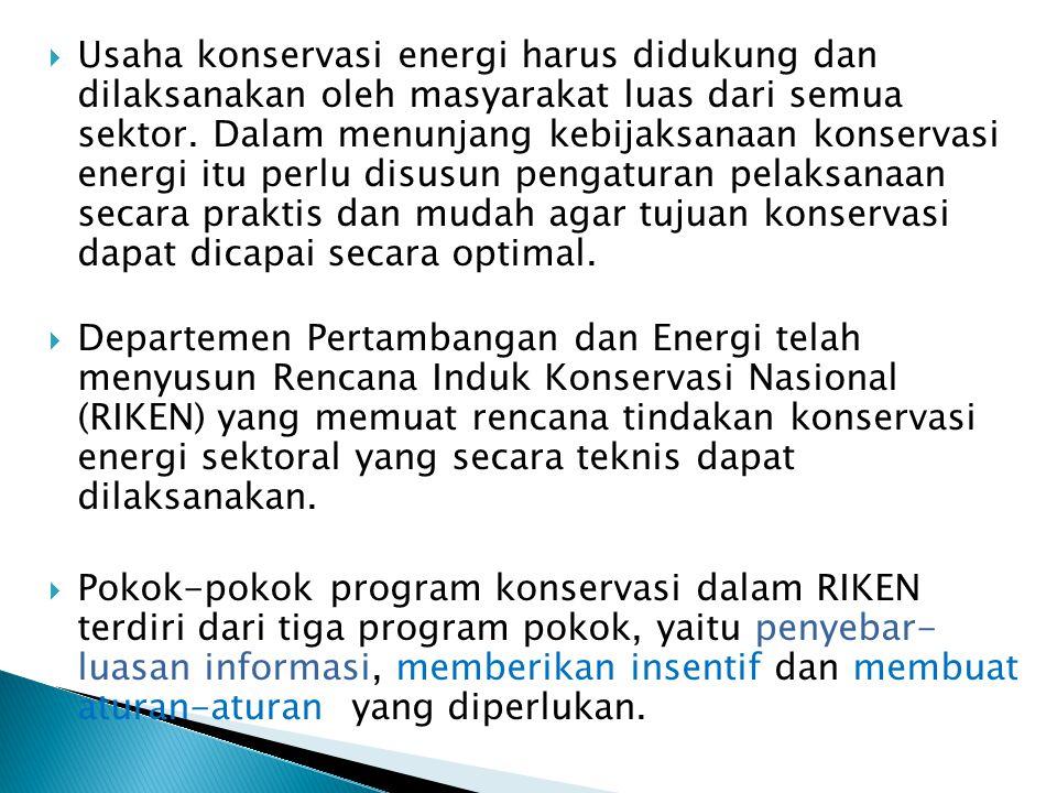 Usaha konservasi energi harus didukung dan dilaksanakan oleh masyarakat luas dari semua sektor. Dalam menunjang kebijaksanaan konservasi energi itu perlu disusun pengaturan pelaksanaan secara praktis dan mudah agar tujuan konservasi dapat dicapai secara optimal.