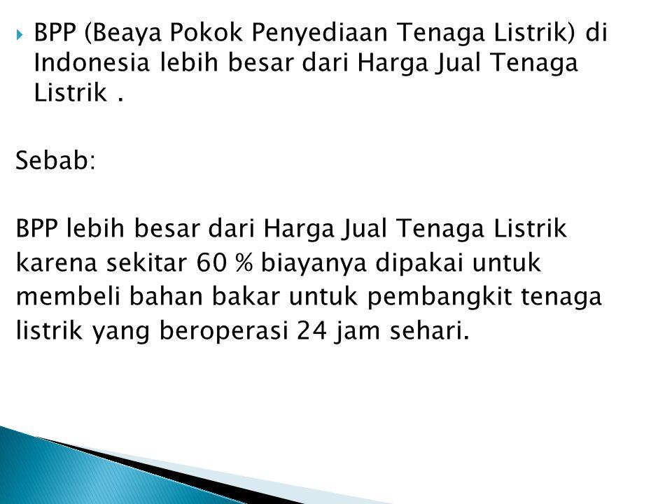 BPP (Beaya Pokok Penyediaan Tenaga Listrik) di Indonesia lebih besar dari Harga Jual Tenaga Listrik .