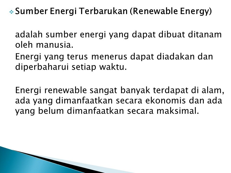 Sumber Energi Terbarukan (Renewable Energy)