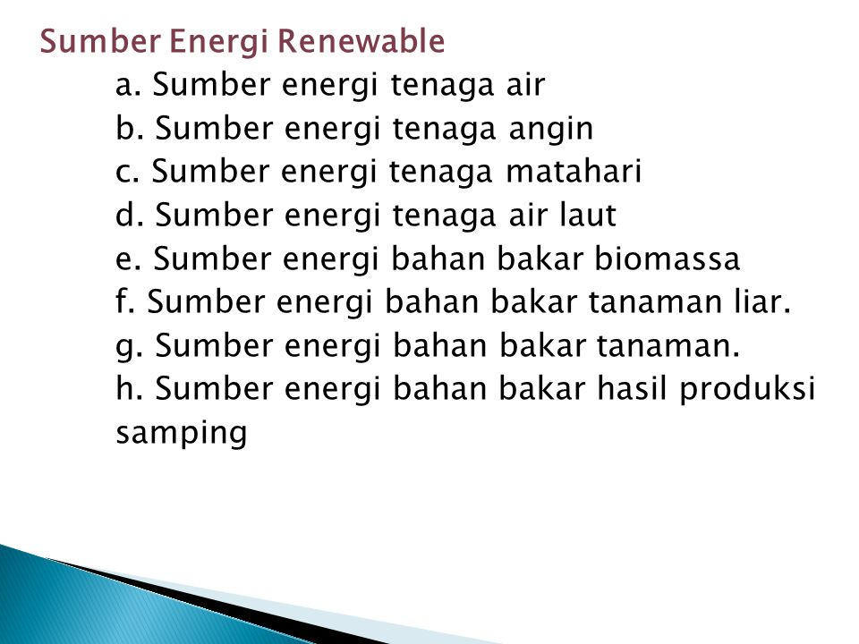 Sumber Energi Renewable
