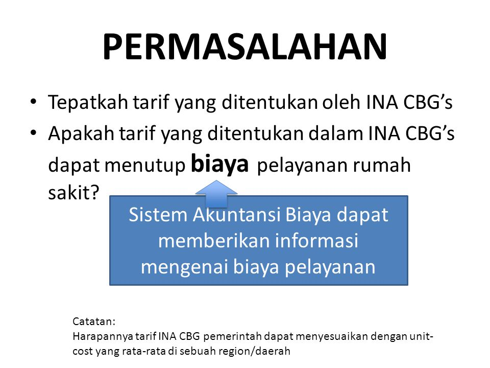 PERMASALAHAN Tepatkah tarif yang ditentukan oleh INA CBG's